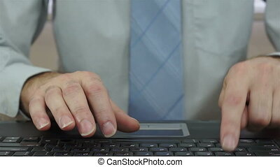 Businessman Slamming Laptop Keyboard - Laptop screen...