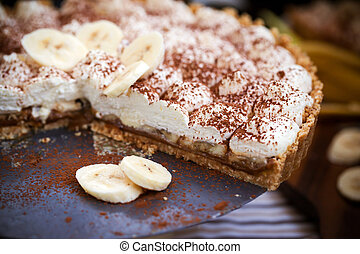 Banoffee pie banana and toffee on the table