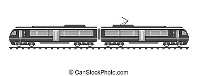 Silhouette of electric train Vector illustration EPS 10...