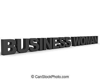 three dimensional business woman text