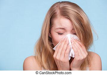 gripe, allergy., doente, menina, espirrando, em, tissue.,...