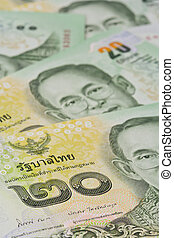 Thai banknotes (baht) for money and business concepts - Thai...