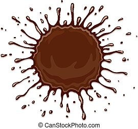 Round chocolate splash with drops isolated on white