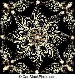 background with gold flower with gems