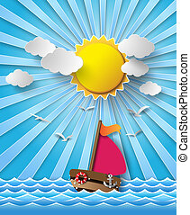 Sailing boat and clouds with sun beam