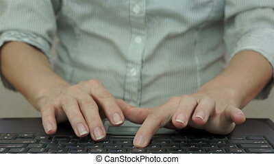 Businesswoman Slamming Laptop Keyboard - Laptop screen...