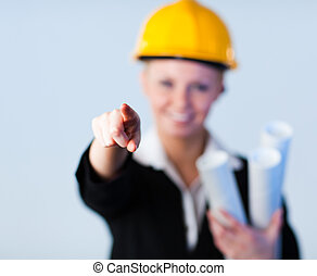 Confident forewoman with focus on the object