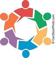 Call out 6 people circle logo - Call out 6 people circle