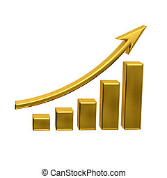 Business Growth - Golden Bars with up arrow - Business...