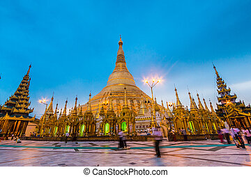 Shwedagon pagoda in Yangon, Myanmar Burma They are public...