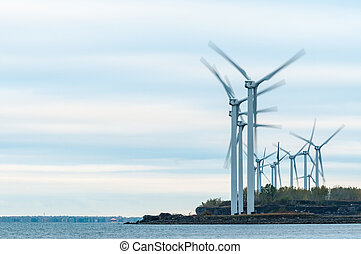 Windmills - A group of windmills along the Lake Erie...