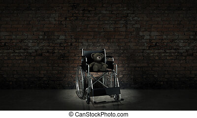 child handicap concept: brown teddy bear in wheelchair
