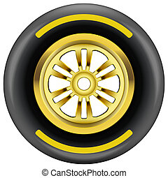 race wheel and tire symbol - Race wheel and tire symbol with...