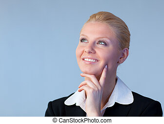 Happy Businesswoman looking upwards - Young Happy...