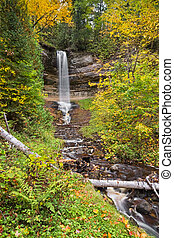Munising Falls - Colorful fall foliage surrounds Munising...