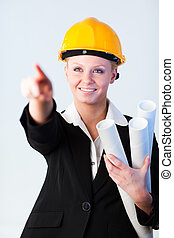 Female Construction worker pointing