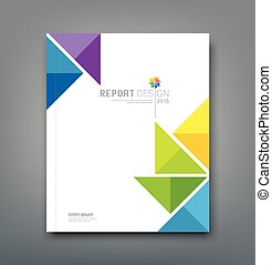 Report, colorful windmill origami - Cover Annual report,...