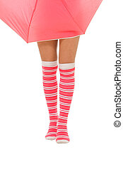 woman legs in color red socks with umbrella isolated - woman...