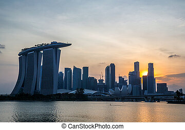 Singapore city downtown sunset - Cityscape of Singapore city...