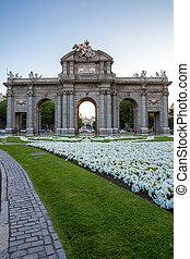 cancello, a, indipendenza, quadrato, madrid, Spagna,