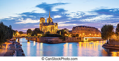 Notre Dame Cathedral Panorama - Notre Dame Cathedral with...