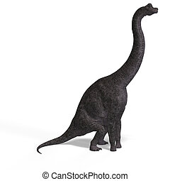 giant dinosaur brachiosaurus With Clipping Path over white