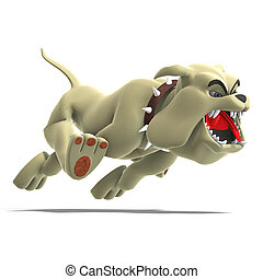 dangerous and funny toon dog - a smart comic dog 3D render...