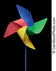 pinwheel - four colors pinwheel isolated on black background