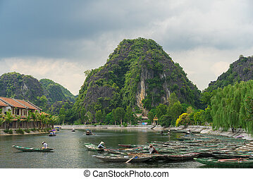 Tam Coc, Ninh Binh, Vietnam - September 14, 2014. Tour...