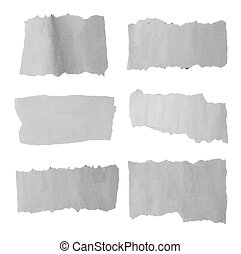 Torn paper - Six pieces of torn paper on plain background