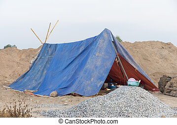 Tent accommodation For construction workers In rural