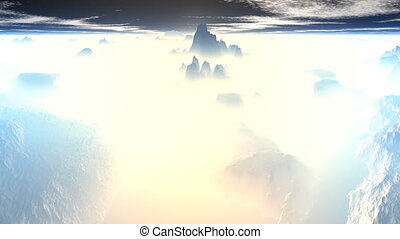 Mountain peaks of fog