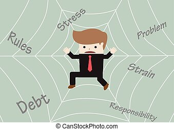 Businessman stuck on spider web, VECTOR, EPS10