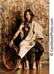shaman man - Art portrait of the American Indian. Ethnicity....