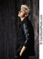 glamour man - Portrait of a beautiful male model with blond...