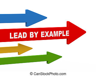 3d lead by example arrow - 3d illustration of leading red...