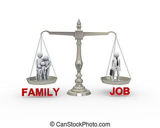 3d family and job on scale - 3d illustration of family...