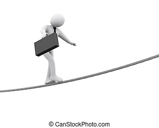 3d businessman walking on rope