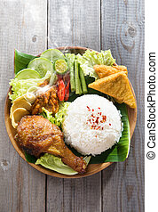 Asian fried chicken rice - Popular Indonesian local food...