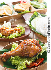 Delicious Asian food nasi ayam penyet - Delicious nasi ayam...