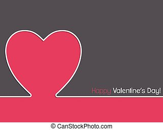 Simple valentine card design with pink heart shape