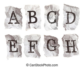 Typewritten alphabets on crumpled paper -- Letters A-H -...
