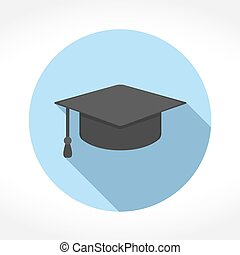 Graduation Cap Icon - Graduation cap icon in circle, flat...