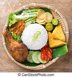 Fried chicken rice - Famous traditional Indonesian food....