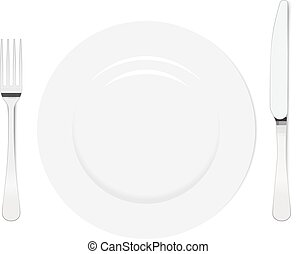 Empty plate with knife and fork on a white background Mesh...