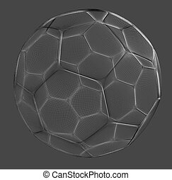 football mesh - mesh wire rendering of a football sphere in...