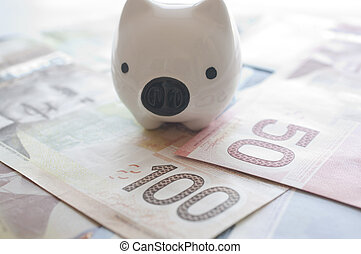 Abstract saving money concept. - Piggy bank on Canadian...