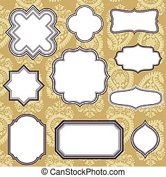 Frames on Paisley Background - Set of Vintage frame and...