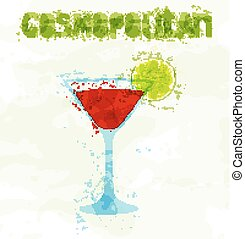 Cosmopolitan cocktail with a slice of lime