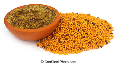 Golden Mustard over white background